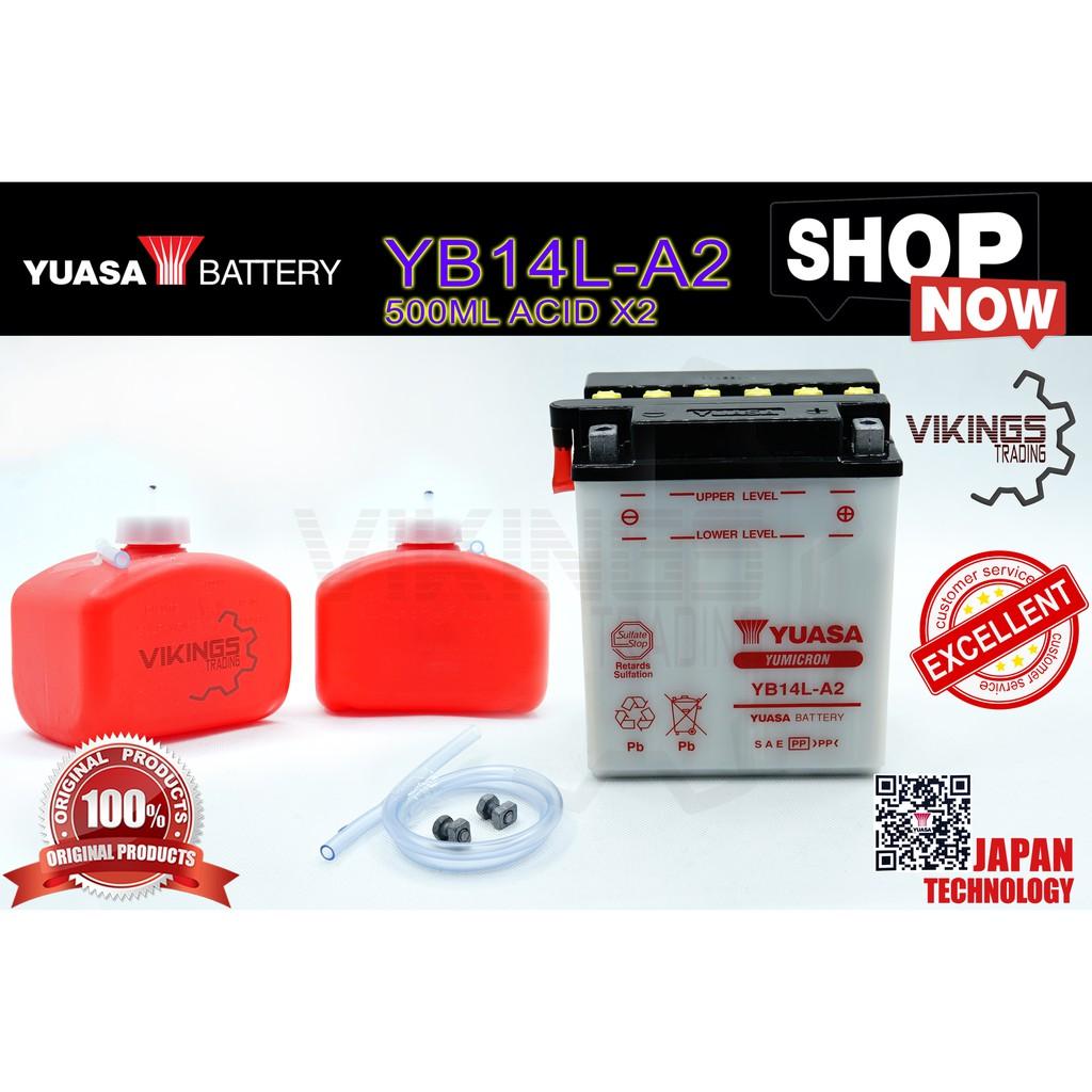 YB14 YB14L YB14L-A2 FREE ACID 100% ORIGINAL AUTHENTIC JAPAN YUASA BATTERY YB14L-A2 HONDA CBX 750P YAMAHA FJ1100