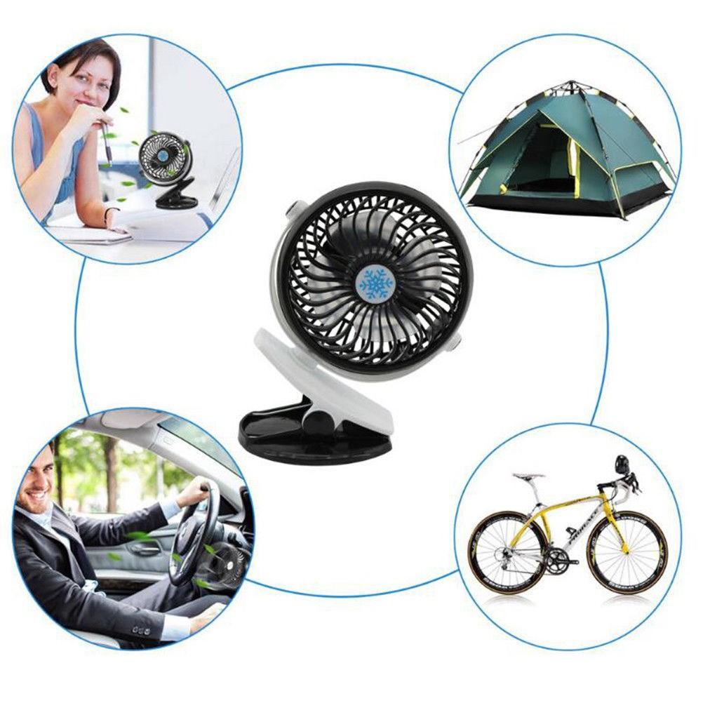360° Portable Camping Fan Rechargeable USB Clip On Mini Desk Fan Pram Cot Car
