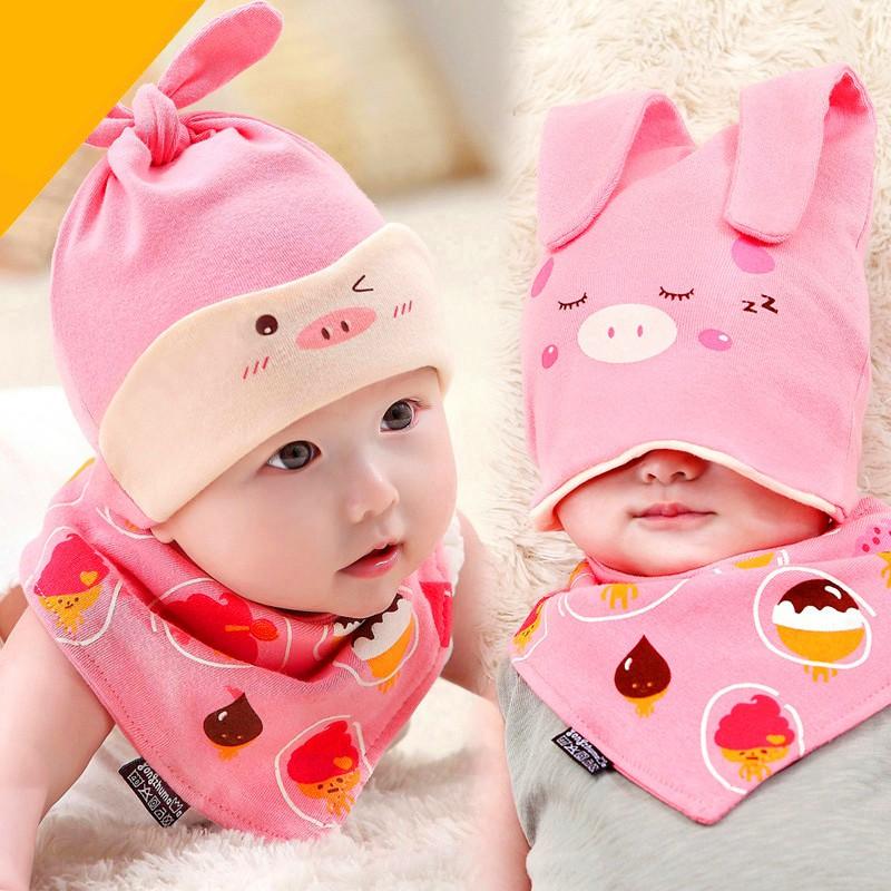 25ba8703819 Newborn Baby Infant Boys Girl Sleep Hat Cap+Saliva Towel Triangle Head  Scarf Set