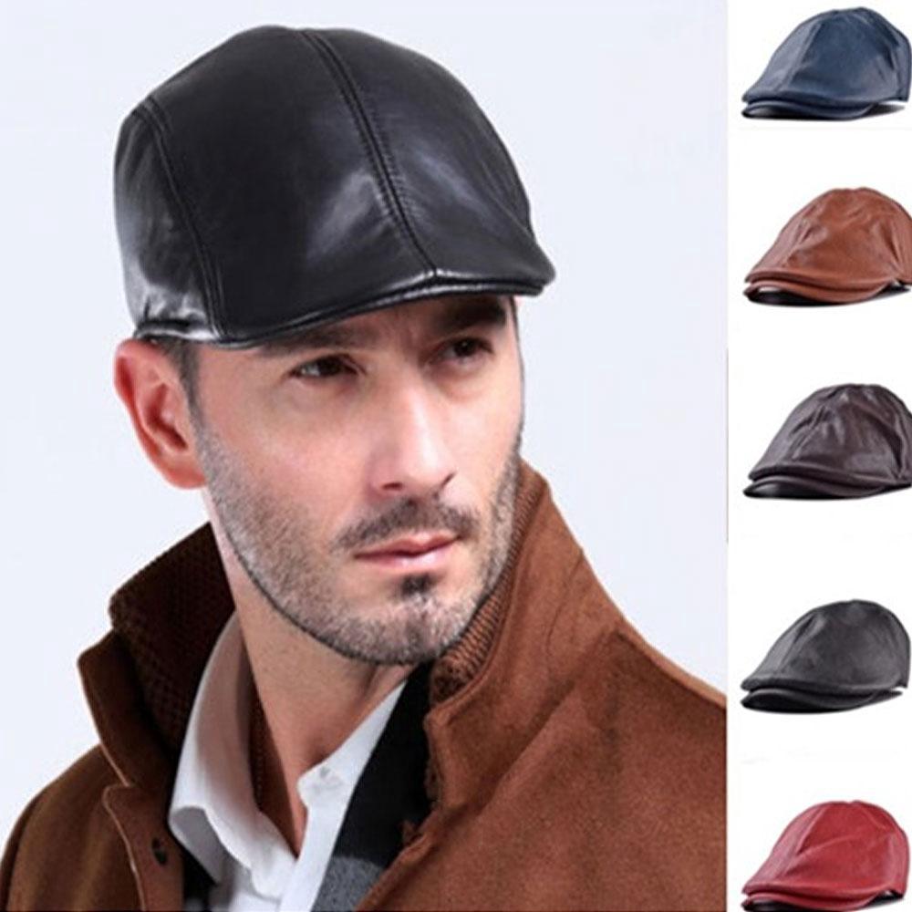 190144548 Vintage British Style Adjustable Simple Wild Leather Beret