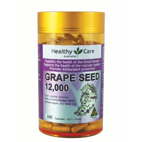 【Ready Stock】Healthy Care Grape Seed 葡萄籽精华胶囊 12000mg*300pcs/粒