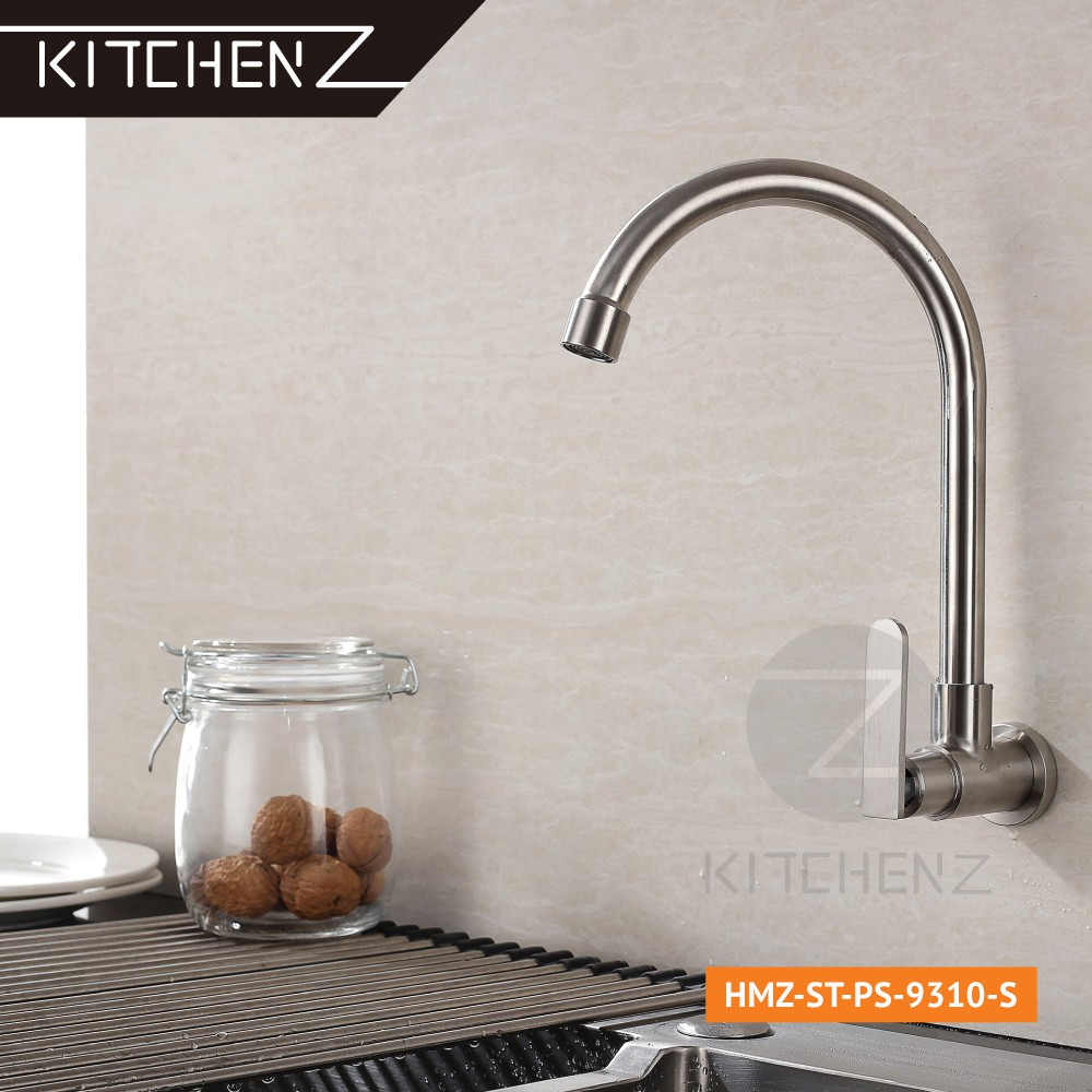Kitchenz SUS304 Stainless Steel Single Handle Kitchen Faucet Wall Sink Tap U Spout HMZ-ST-WS-9310-S