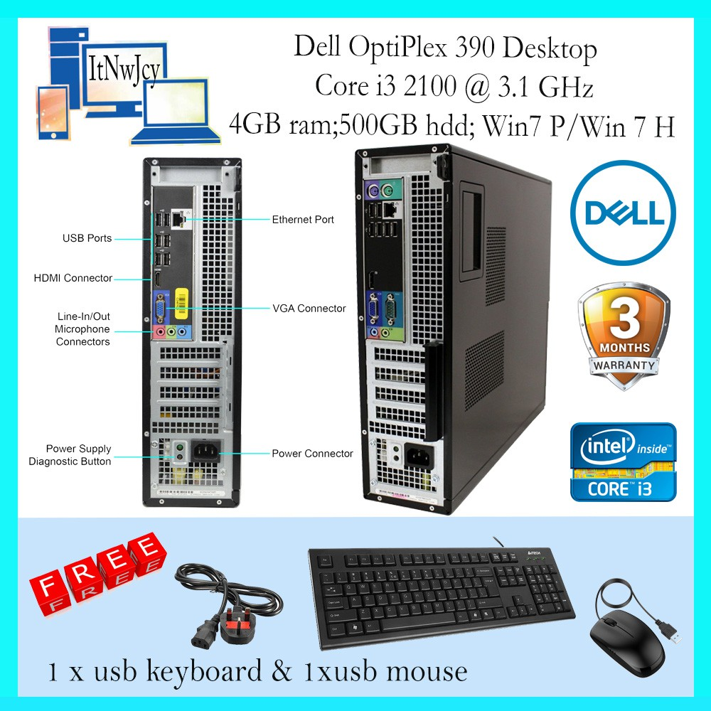 Refurbished Dell Optiplex 390 DT(Corei3-2100