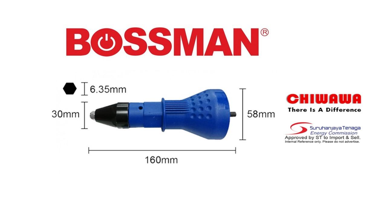 Bossman BRA-01 Professional Rivet Adaptor with 2 pcs Wrench