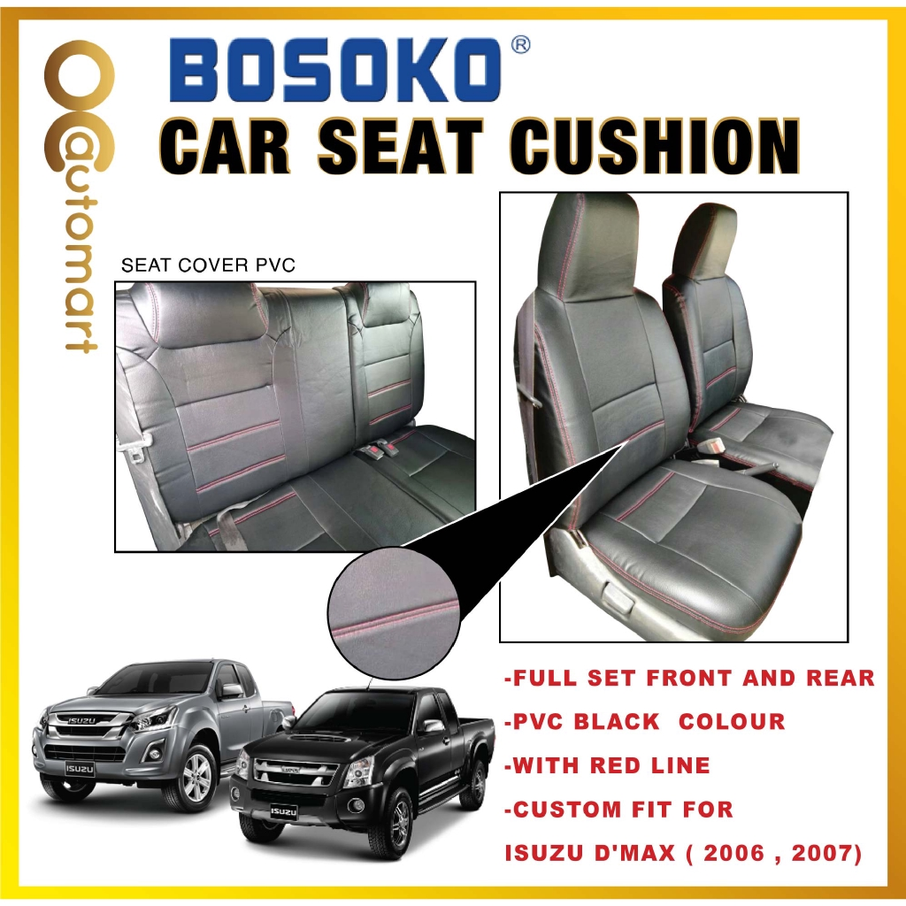 Isuzu D-Max Yr 2006 - Custom Fit OEM Car Seat Cushion Cover PVC Black Colour Shining With Red Line ( Made in Malaysia )
