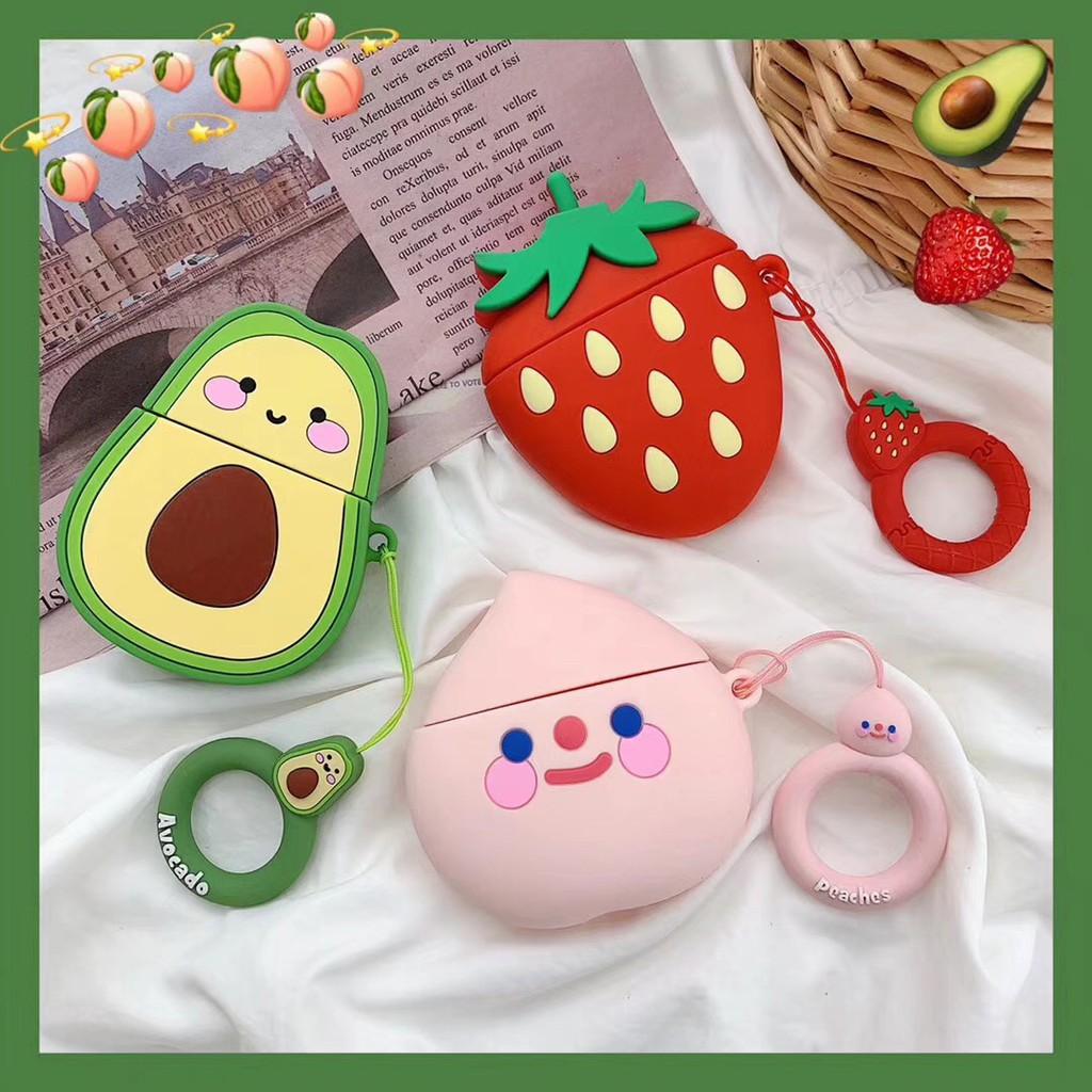 cute strawberry emoji airpods earphone case for iphone 6/6s/6plus/7/7plus