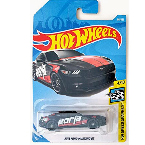 Hot Wheels Ford Mustang GT HW Speed Graphics Black 80/365, Long Card by Mattel