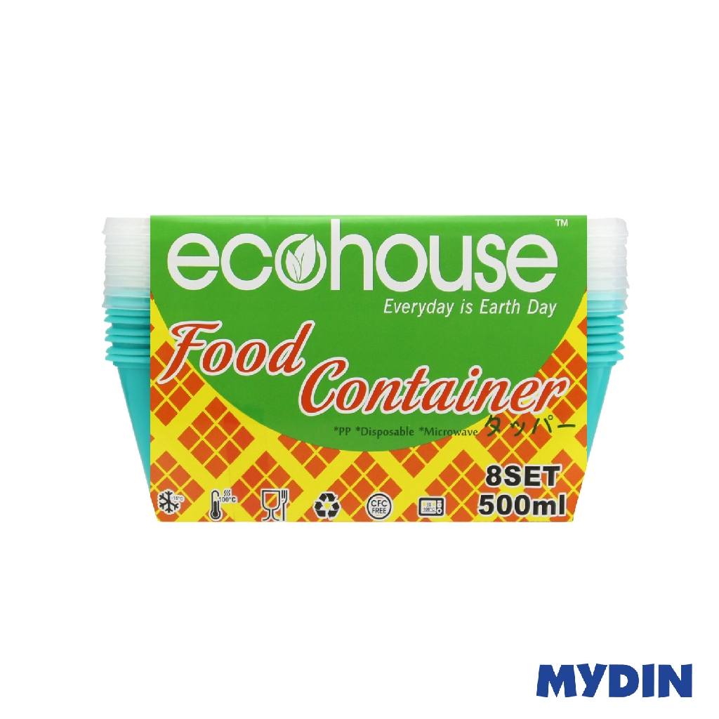 Ecohouse Rectangle Container - Turquoise (500ml)