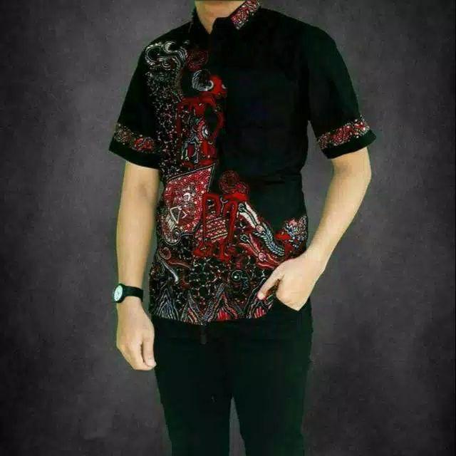 Kemeja batik jawa wayang