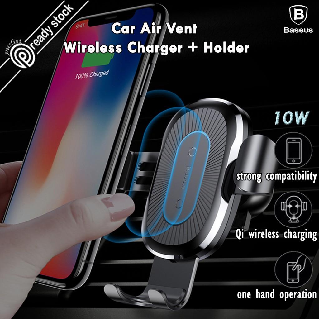 18e13ae5c71b0 Baseus 10W QI Wireless Car Charger Air Vent Phone Holder iPhone X 8 Samsung  S9