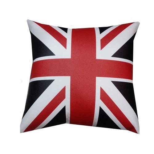 British UK Flag Series Car Styling PU Leather Cushion Pillow - Black