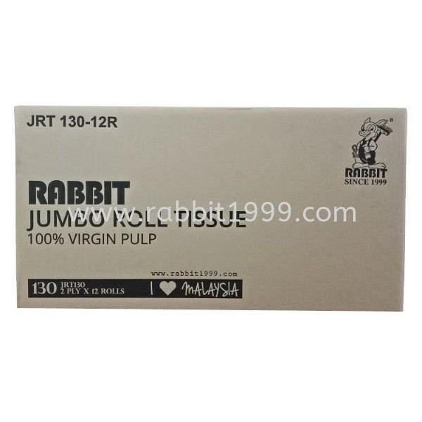(RM7.33/ Roll) RABBIT JUMBO ROLL TISSUE- 2 ply (130m x 12nos/ ctn)- tisu tandas