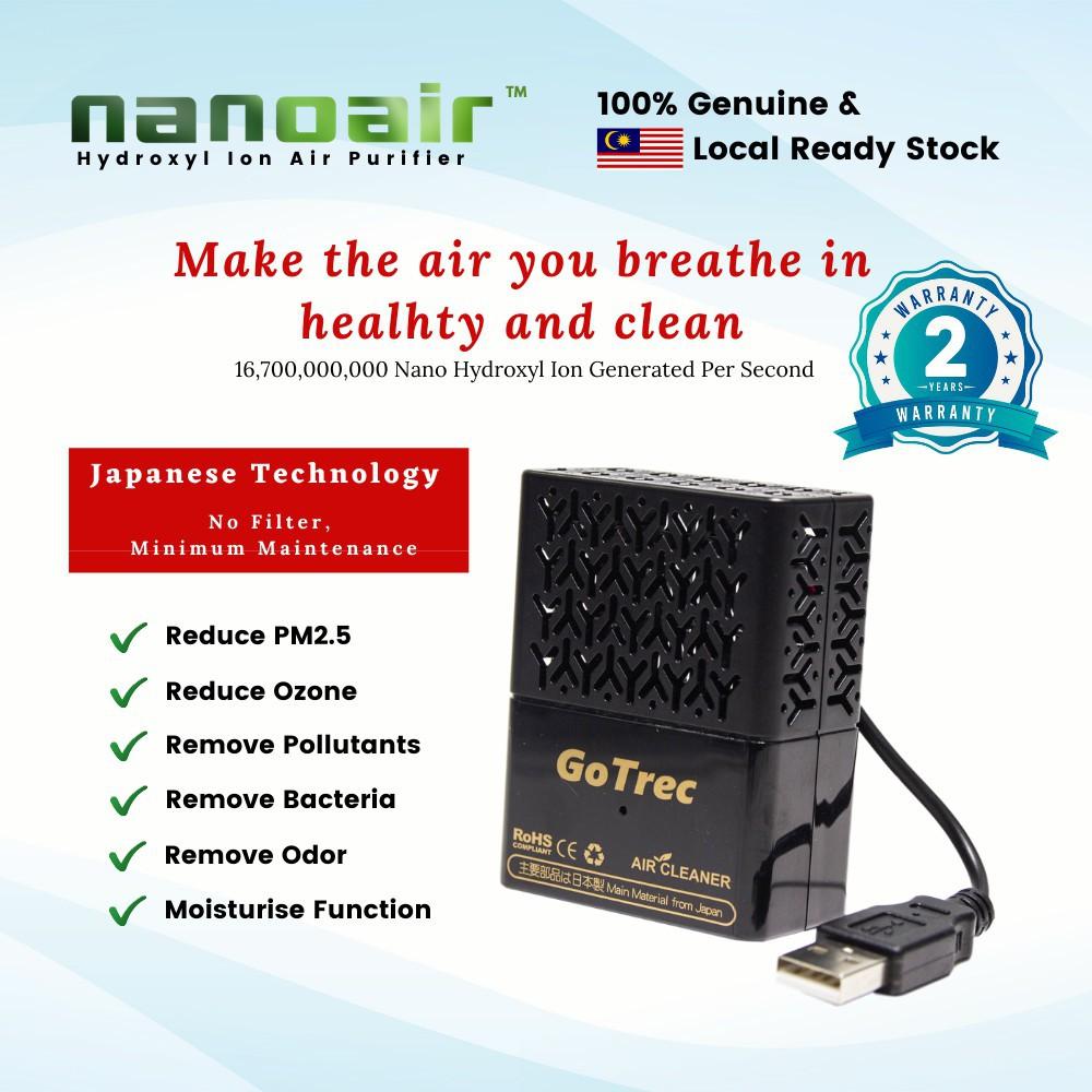 (2 Years Local Warranty) GoTrec Nanoair Hydroxyl Ion Car Air Purifier Japan Technology, No Filter, Minimum (READY STOCK)