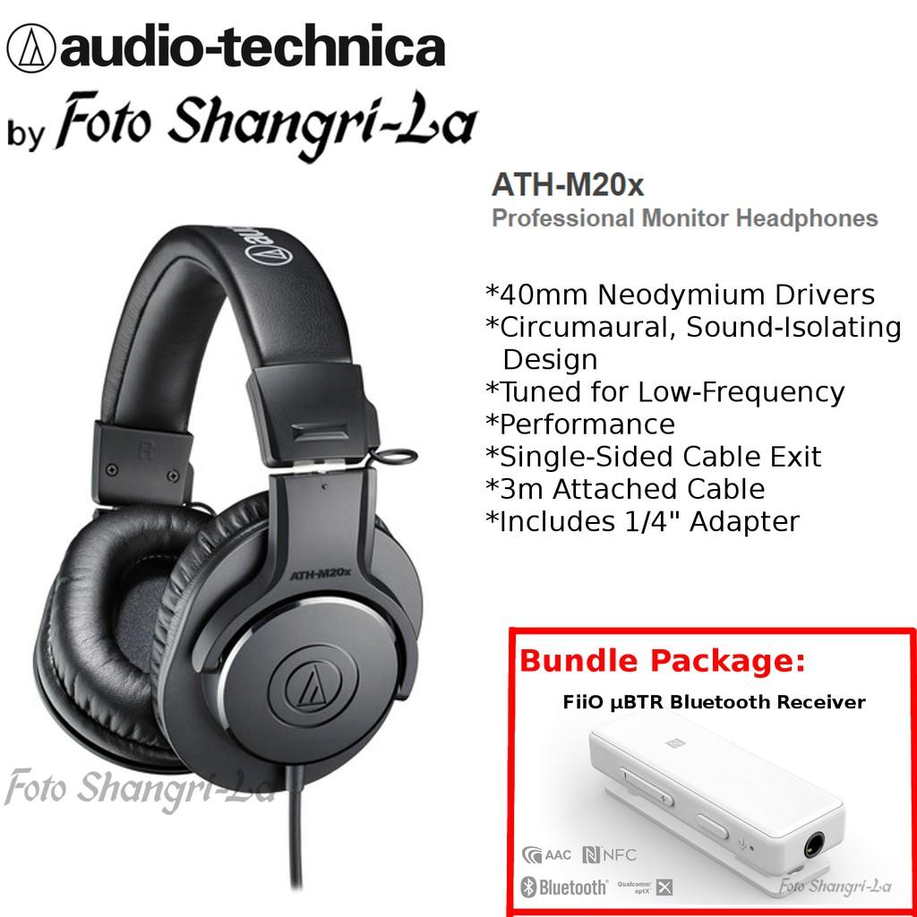 Audio Technica ATH-M20x Professional Monitor Headphones + FiiO μBTR / uBTR  Bluetooth Receiver
