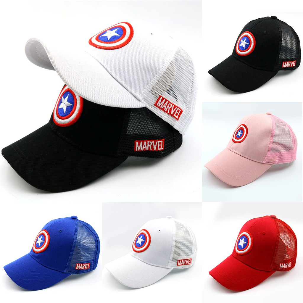 9af10fa1f Summer Captain America Net Cap Boys Girls Baseball Cap Embroidery Snapback  Hat Kids Sport Cap