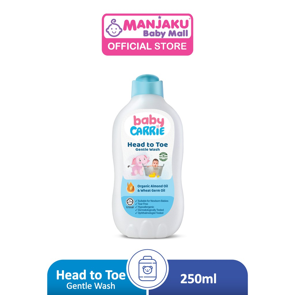 Baby Carrie Head To Toe Gentle Wash (250g) - Organic Almond Oil & Wheat Germ Oil