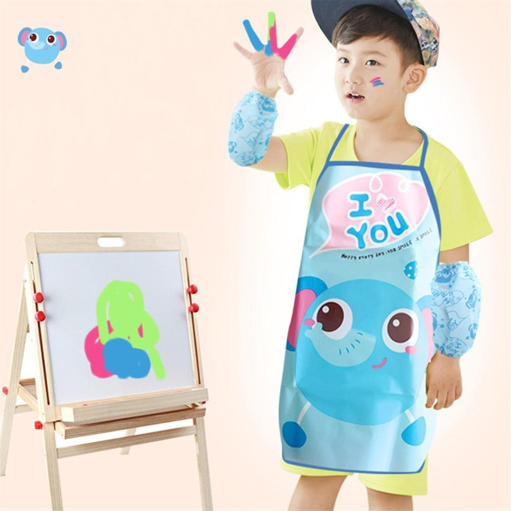 a245cfc90d Kids Chef Apron Sets Child Cooking Painting Waterproof Children Gowns Bibs