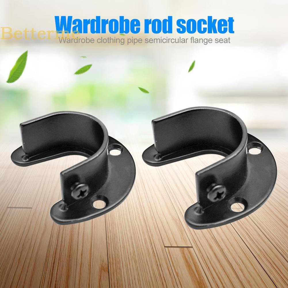 Stainless Steel Wardrobe Bracket Flange Rail Rod Pole Socket End Support 2Pcs