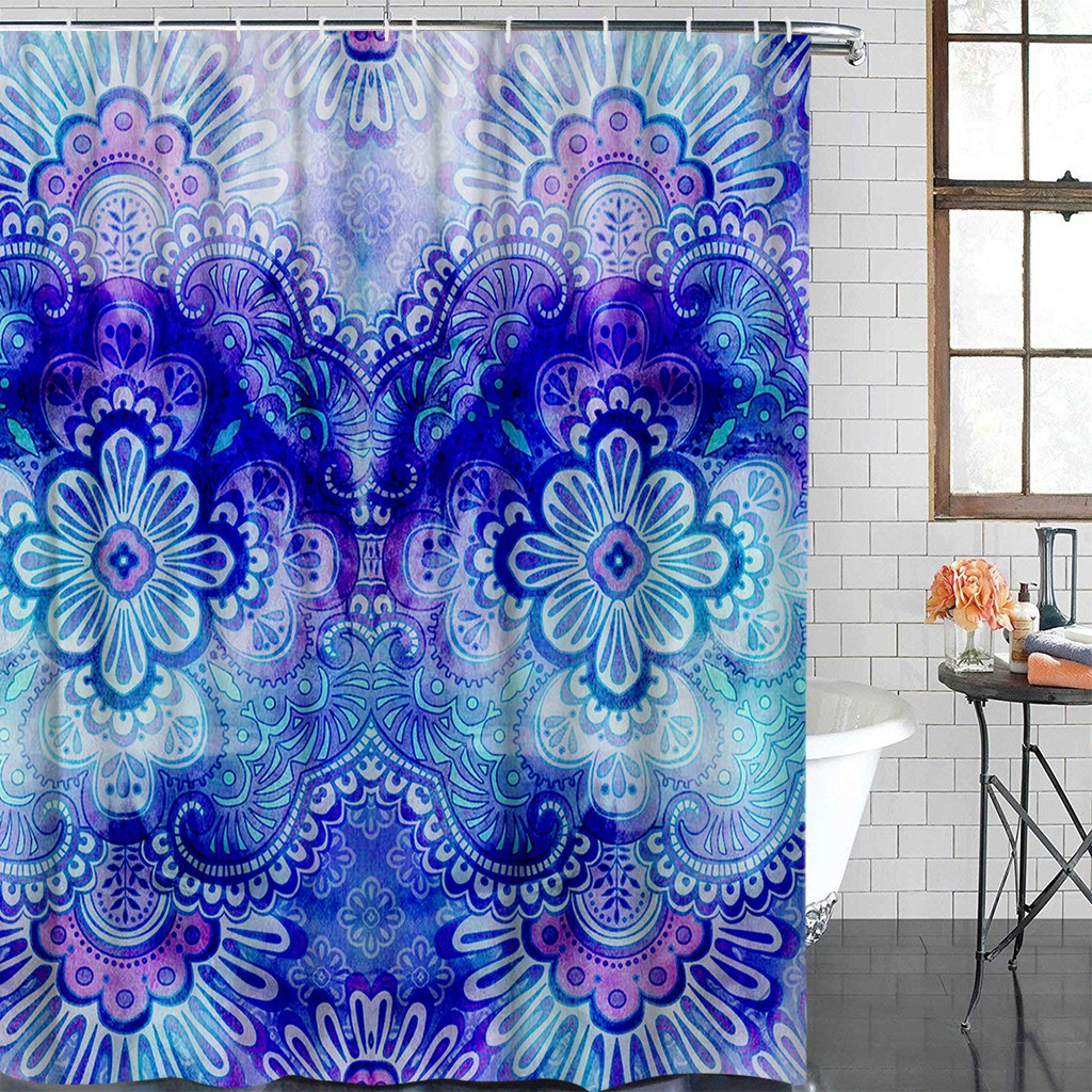 Peva Indian Floral Shower Curtain Mildew Resistant Polyester Fabric Bath Curtain