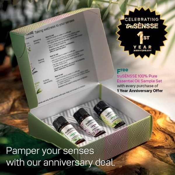 Tupperware NaturCare TruSensse 100% Pure Essentials Oil Set with Gift box (3 x 3ml) Lavender / Lemongrass/ Peppermints
