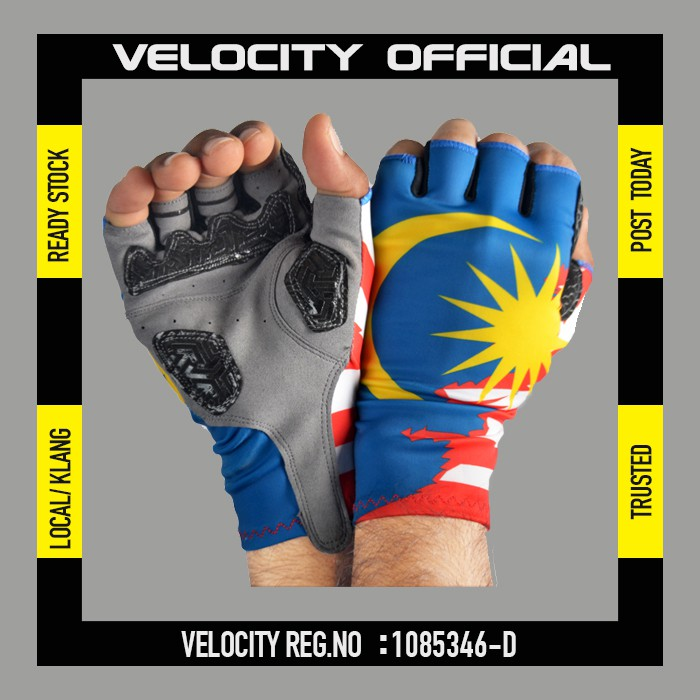 Cycling Glove Gel Velocity Gloves Malaysia Flag Half Finger Glove UV Protection Glove Stretchable Glove