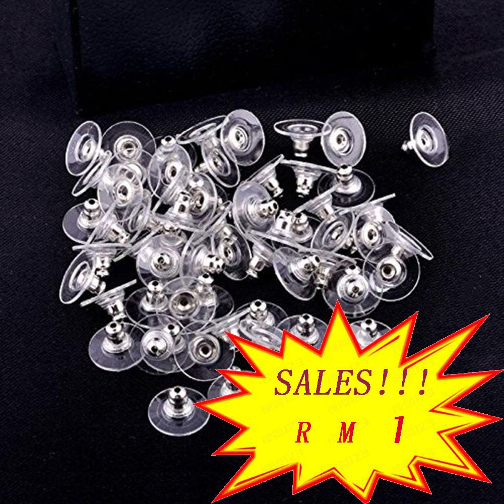 50PCS Heavy Duty Rubber Earring Backs Sleeves Holders White Soft Silicone 11mm