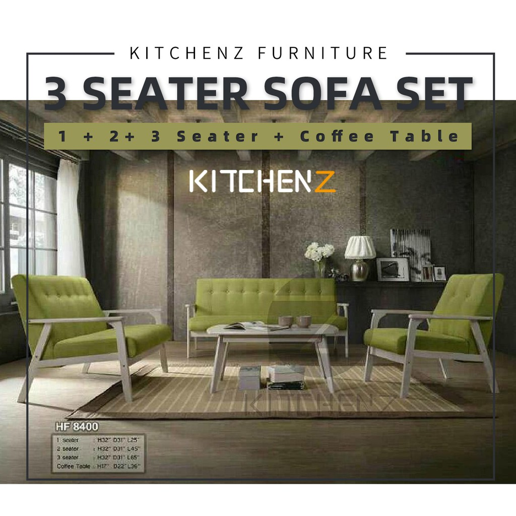 Kitchen Z Sofa 5 + 5+ 5 Seater + Coffee Table HF5 Solid Wood Sofa