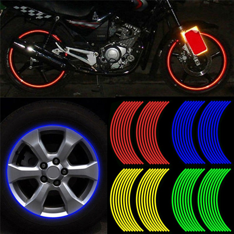 Chrome Wheel Stripes RIM Tape Decals Sticker for Motorcycle Wheels 17 or Car Wheels 16-18
