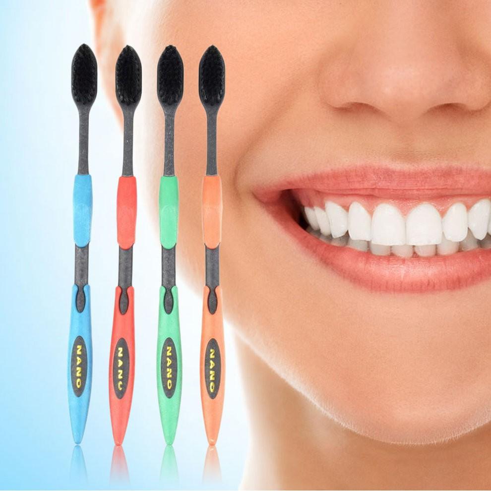 Korea nano bamboo Anion Charcoal health dual adult toothbrush 4pcs/pack