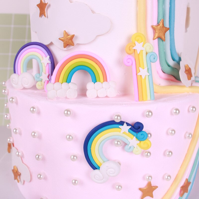 Flags Party Decoration Rainbow Cloud Happy Birthday Cupcake Toppers Cake Decor