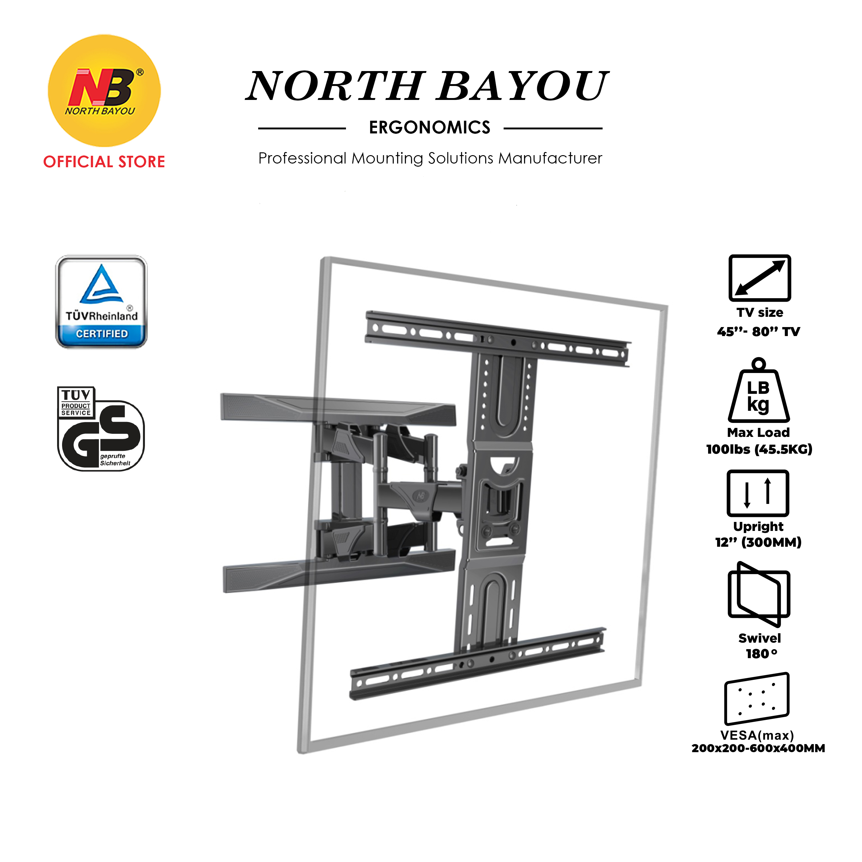 NB North Bayou P6 w/Cable Cover 45 to 75 Inch TV Wall Bracket Mount Double Extendable Arm Vesa 600X400MM Max