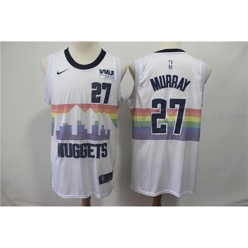 check out 2d76c c00ce 【READY】2019 NBA Basketball Jersey 2019 New Nuggets Team No. 27 Jamal Murray  Rainbow White