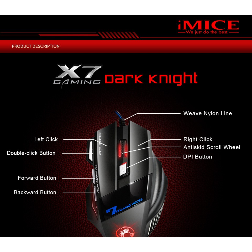 Professional Wired 7 Button 5500 DPI LED Optical USB Computer Mouse (Sound)