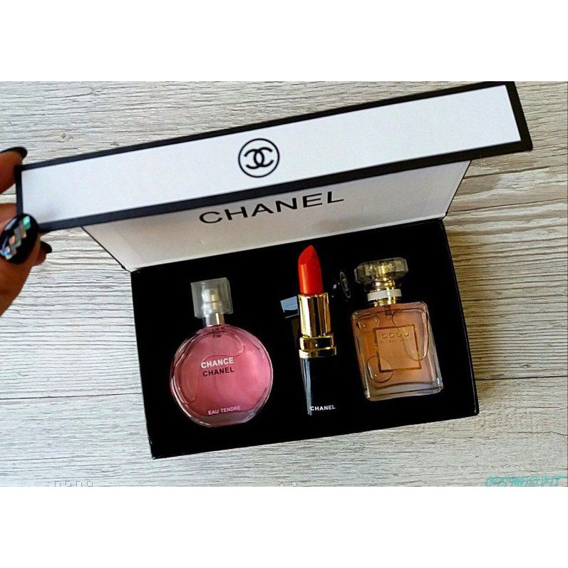 Chãnel Gift Set 3 In 1 With Chance Chãnel 15ml Perfume,coco Madmosile