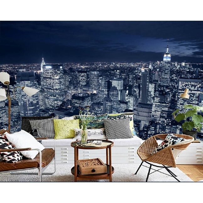 Black And White New York City Night Scene 3d Wallpaper Mural For Living Room Shopee Malaysia