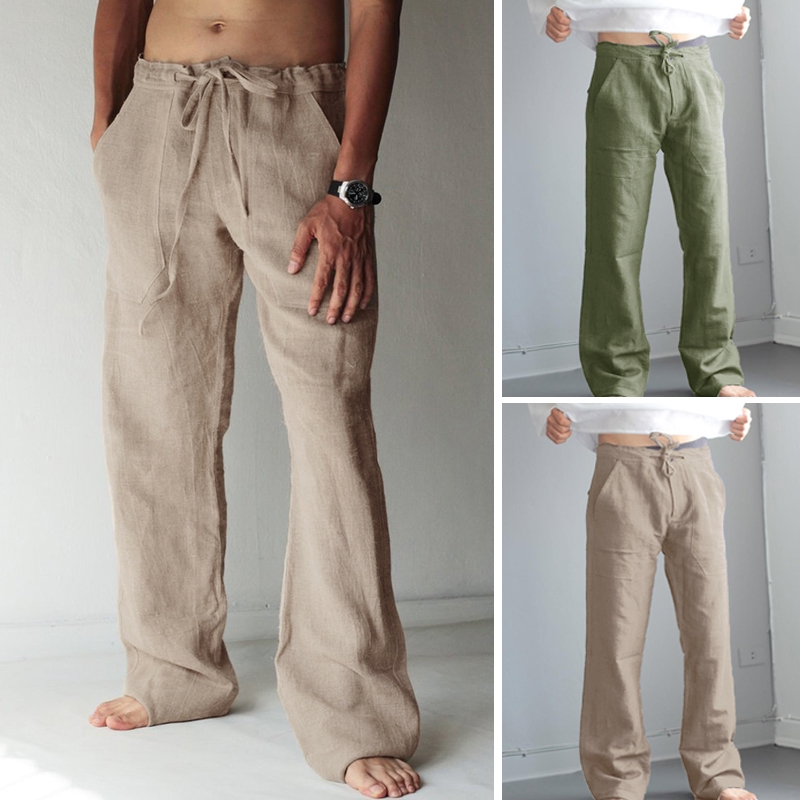Men/'s Cotton Loose Pants Drawstring Yoga Elastic Waist Straight Linen Trousers