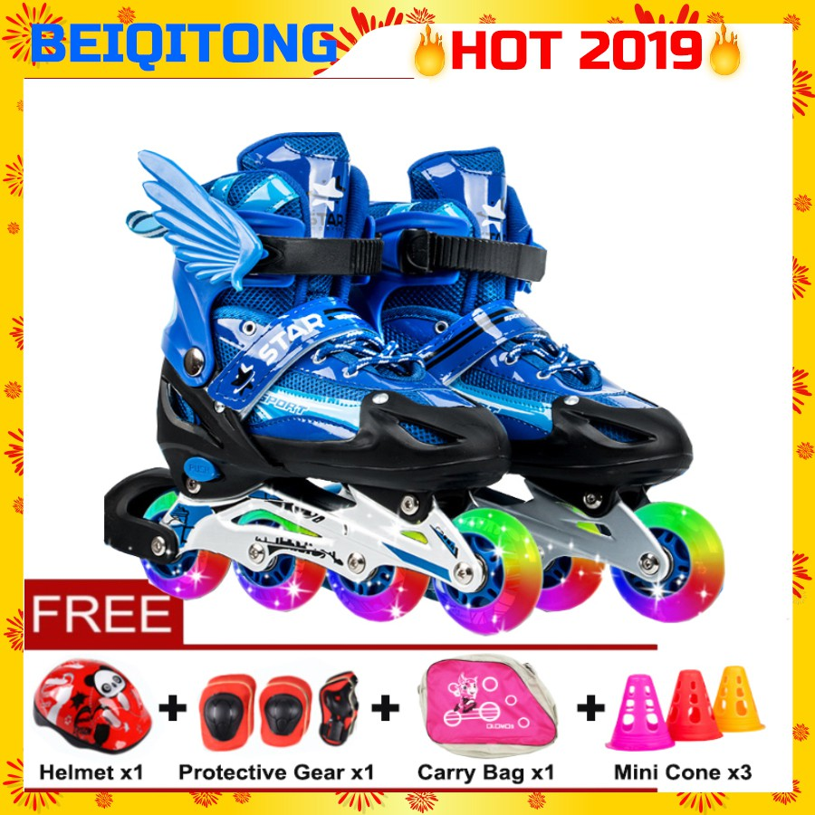 5e335d931dba BEIQITONG High Quality Adjustable Roller Skates LED Flash Wheels For Kids  Gift
