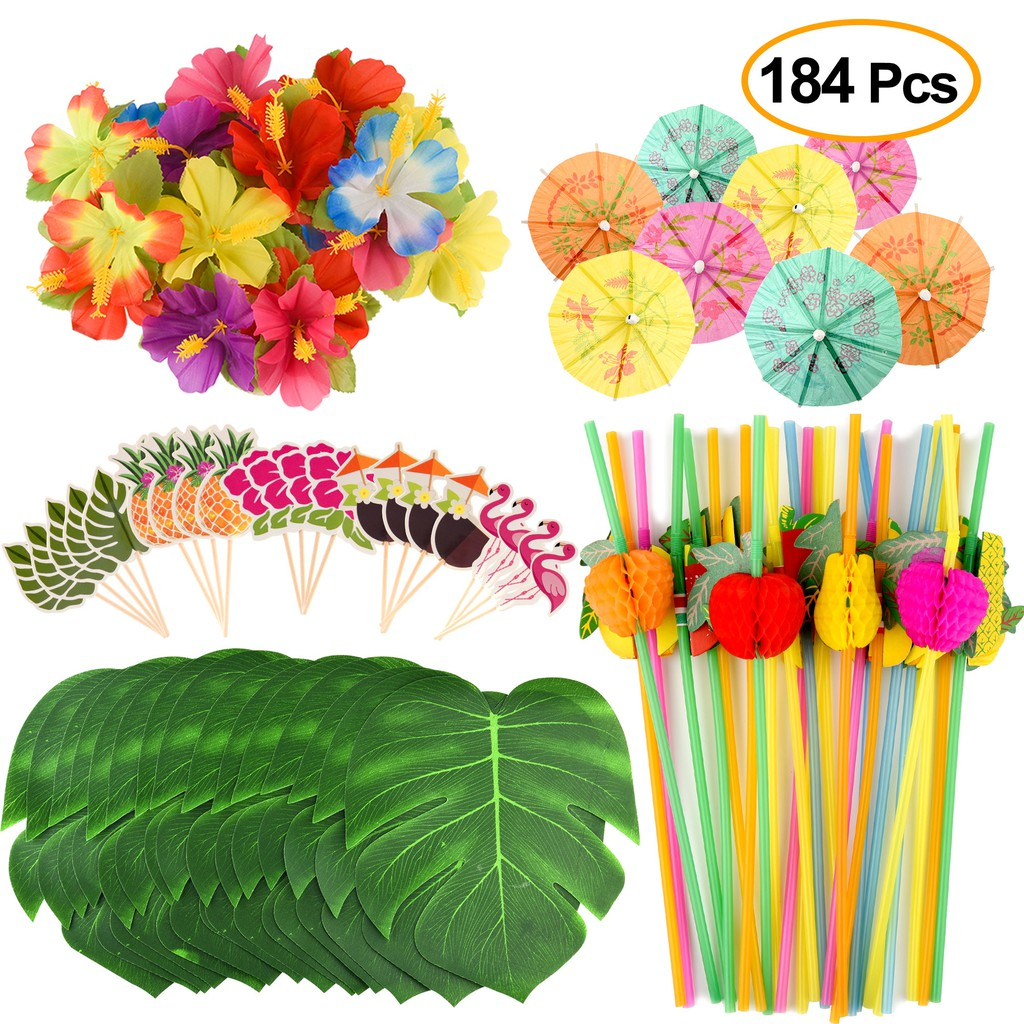184 Pcs Tropical Hawaiian Luau Party Decorations Supplies Palm Leaves Hibiscus Flowers Drink Umbrella Straws Cupcake Shopee Malaysia