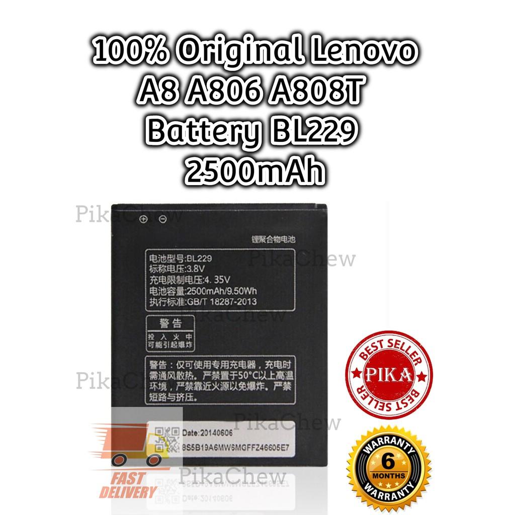 『PIKA』100% Original Lenovo A8 Battery | Lenovo A806 Battery | Lenovo A808T  Battery | BL229 Battery (2500mAh)