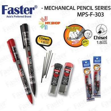 Faster Retractable Pencil 1.8mm Lead ( CHISEL TIP ) MPS-F-303