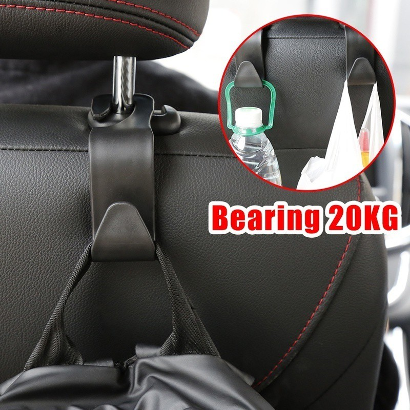 black Multifunctional Car Chair Back Hook Storage Holder Headrest Hook Hanger Seat Bag Hook Portable Universal Double Car Hooks