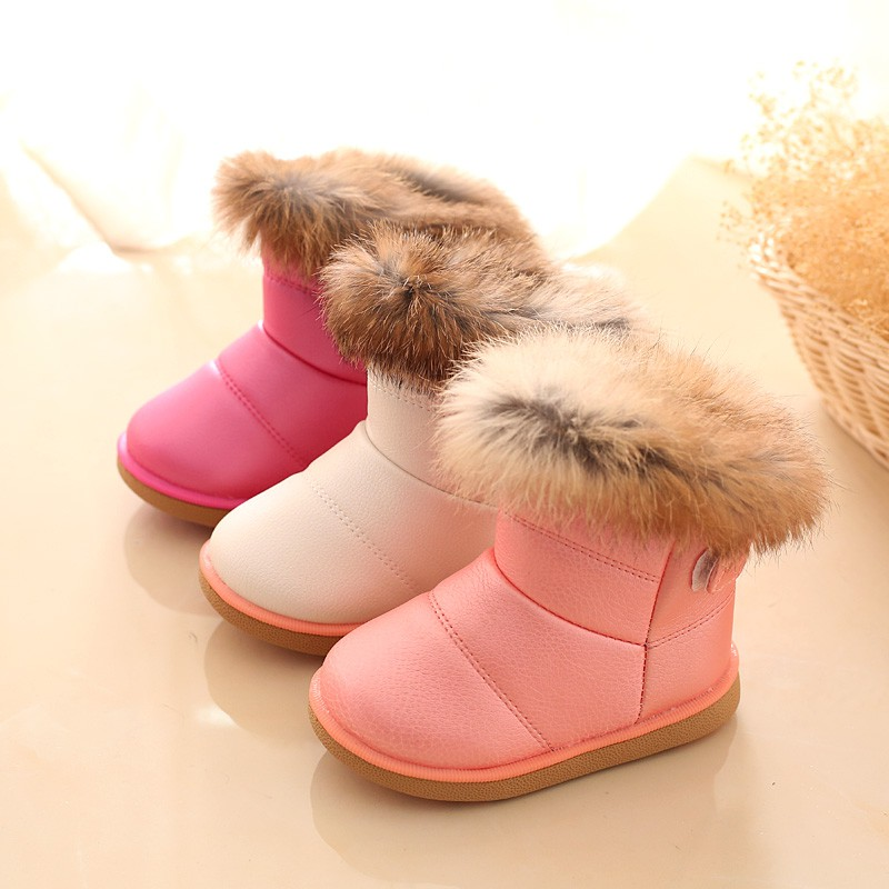 fantastic savings arriving large discount Cute Pure color Bunny villus Girls Snow Boots Children Winter Shoes