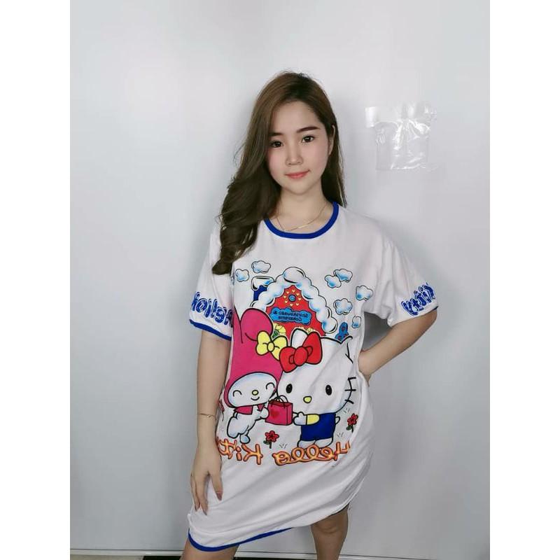 Cotton Sleep wear pyjamas dress Baju tidur Hello Kitty Melody