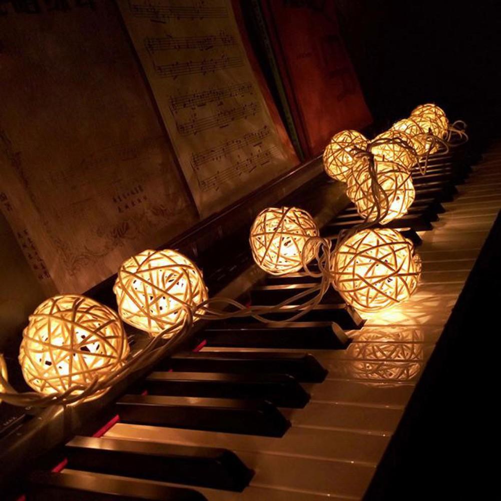 promo code e6e15 40937 (fo)5M 20led Rattan Ball Wicker String Lights Fairy Lamp