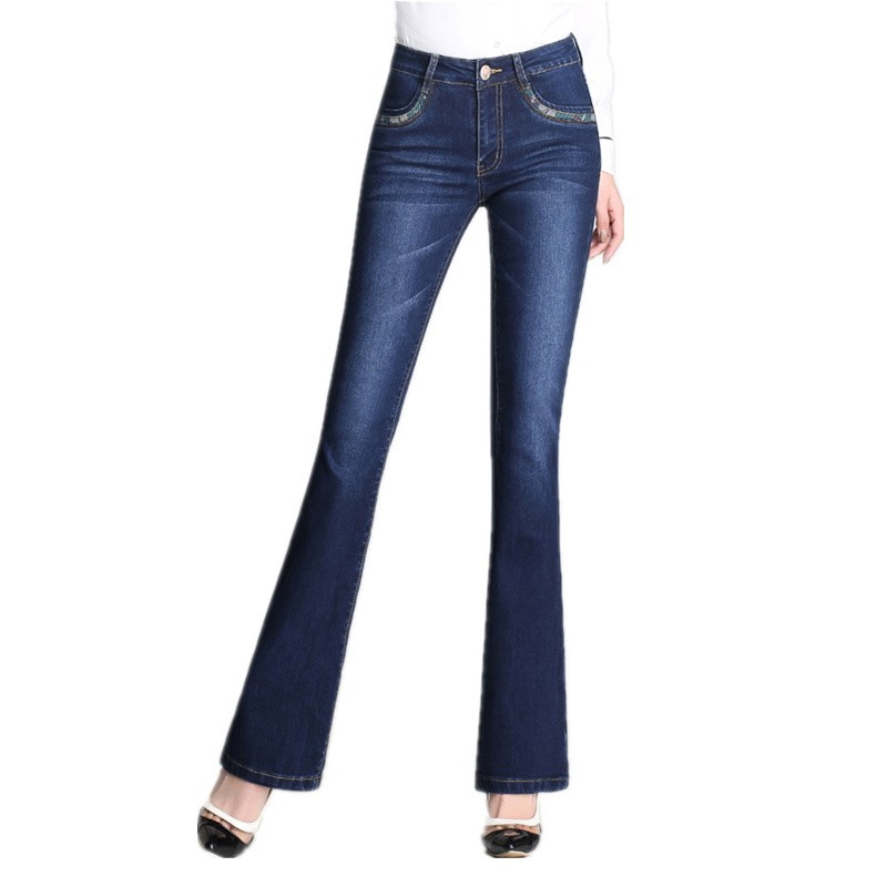 modern design designer fashion affordable price Spring and Autumn New Elastic Flare Pants High Waist Slim Straight Jeans