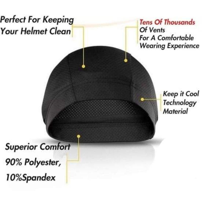 Mass Vents Absorb Sweat Head Cover Super Cool Under Helmet Inner Cap Buff Skull Cap Sarung Kepala