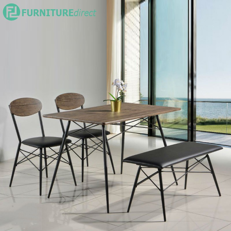 WALKER 4 seater dining set with bench waterproof surface