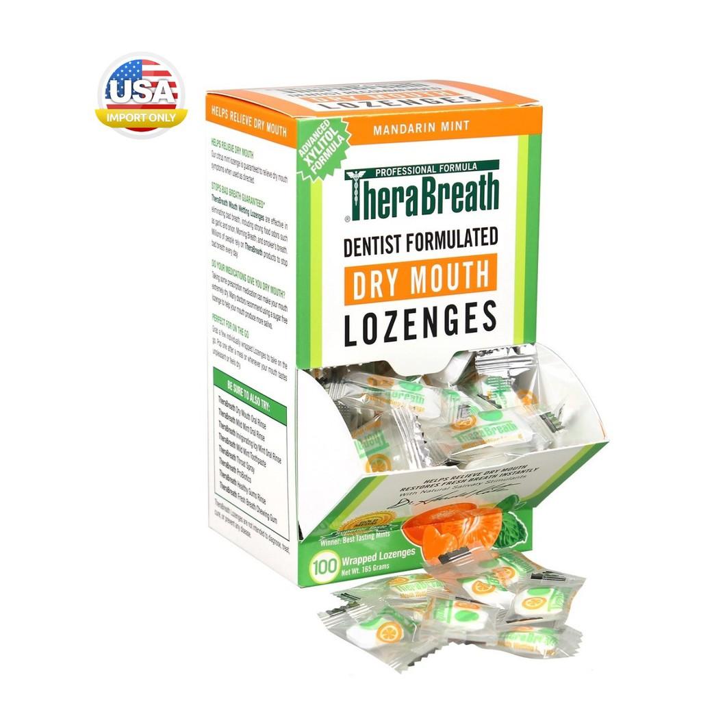 พร้อมส่ง_เม็ดอมดับกลิ่นปาก TheraBreath, Dry Mouth Lozenges, Mandarin Mint, 100 Wrapped Lozenges,