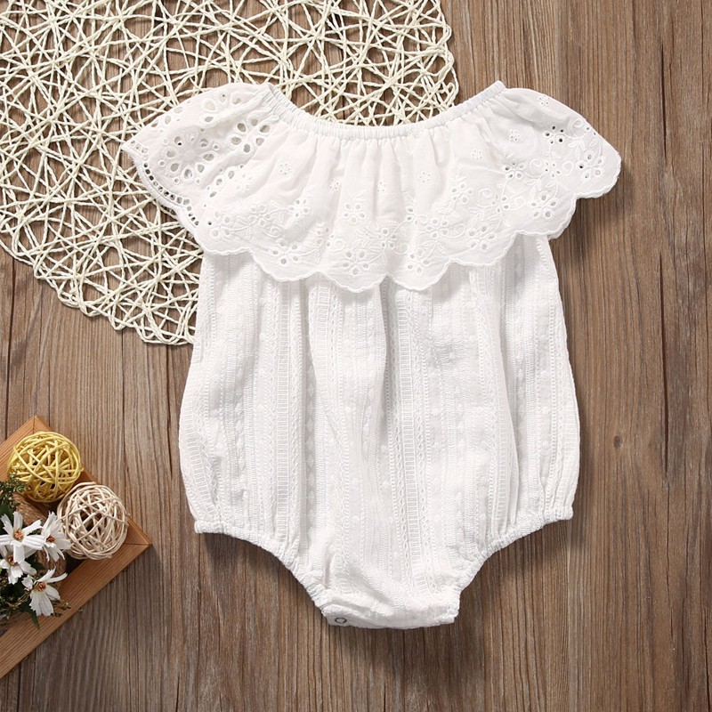 2019 original online for sale the sale of shoes Newborn Toddler Girl White Lace Romper Jumpsuit Infant Clothes Outfit  Sunsuit