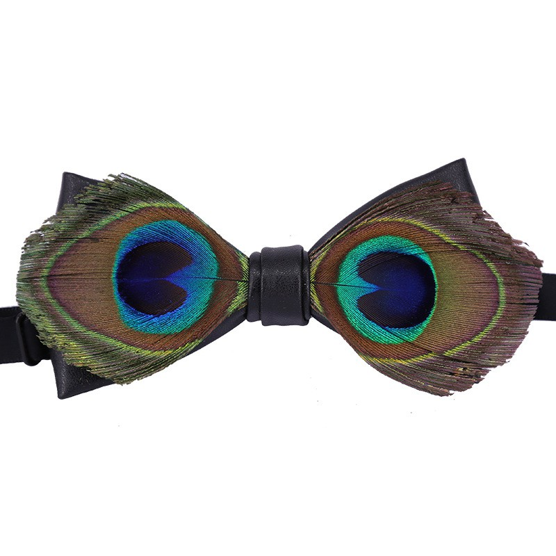 Bow Tie Peacock Feathers Adjustable Bowtie for Wedding Party